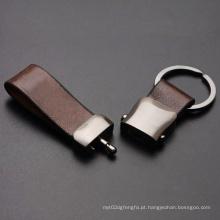 Keychain relativo à promoção do couro do metal do presente da fábrica com logotipo da gravura