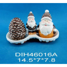 Hand-Painted Ceramic Salt&Pepper Shakers with Santa Handle