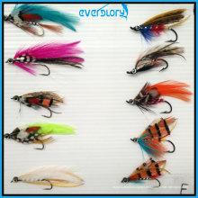 Moscas coloridas e atraentes para a pesca com mosca