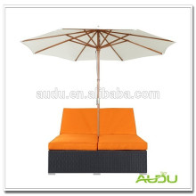 Audu Amazon Flat Rattan Resort Folding Beach Chair With Sun Shade