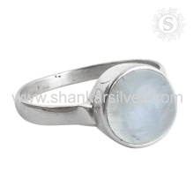 New Shiny Rainbow Moonstone Silver Ring atacado 925 Sterling Silver Jewelry Indian Handmade Jóias De Prata