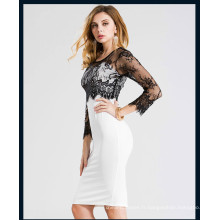 Nouveau design casual femmes col rond robe patchwork dentelle noire à manches longues solides dames mince robe femme