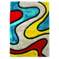Poliestere miscela Shaggy Rug 3D design con Multi Color