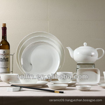 New bone china high quality dinner set with gold lines decal, gold dinner set