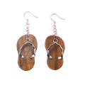 Popular a Pair Plated Silver Natural Tiger Eye Stone Slipper Earring for Gifts