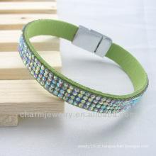 Hot venda popular beleza pulseiras de couro de cristal