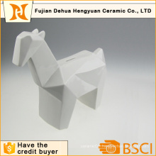 Glazed White Ceramic Horse Shape Coin Bank for Desktop Gift