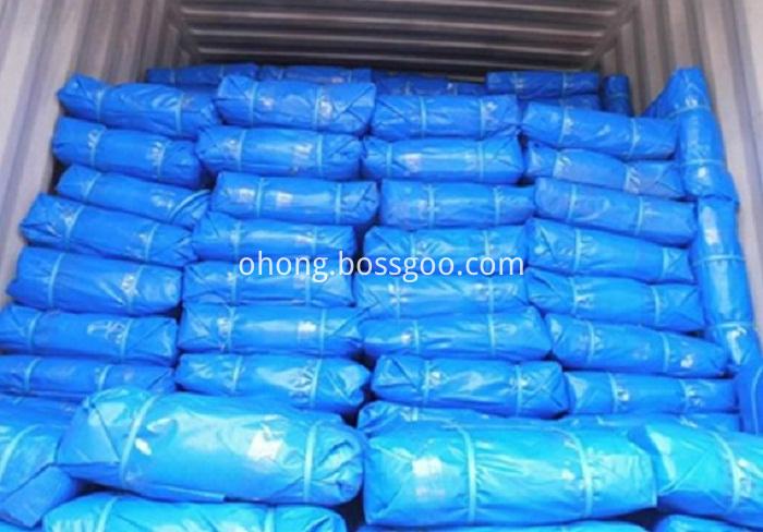 Blue PE tarpaulin bale packing