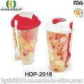 Großhandel bunte Kunststoff Salat Shaker Cup mit Gabel (HDP-2018)