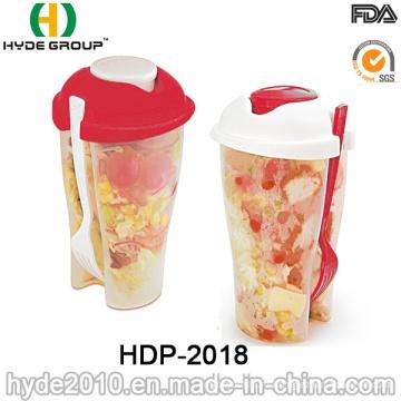 Оптовые красочные Пластиковые шейкер для салата с вилкой (ДПН-2018)