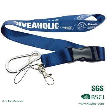 Cordón personalizado de la medalla del color azul del diseño con el accesorio