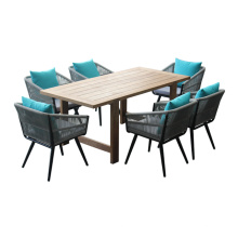 Pátio mobília de jantar cadeira de corda e conjunto de mesa de madeira de teca