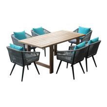 Патио Обедая мебель стула веревочку и тикового дерева стол