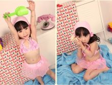 2015 hot sell cute swimsuit pink girl swimsuit with hat