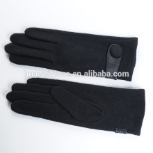 Basic black wool winter gloves for women wear dress accessories