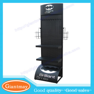 Customized accessories store product metal expositor display stands with shelves and hooks for hanging items
