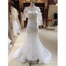 Русалка с коротким рукавом свадебное платье с аппликациями
