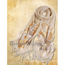 Fashion Linen Scarf with Sequin Embroidery