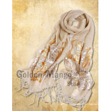 Модный льняной шарф с вышивкой Sequin