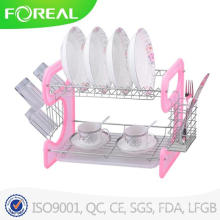 16 Inch Chromed Metal Wire Dish Rack with Plastic Plate