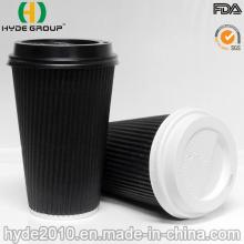 Copo de café papel de ondulação descartável revestido com único PE