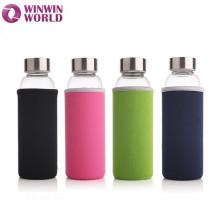 Botella de agua de vidrio de borosilicato de alta calidad personalizada Pyrex Fancy