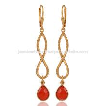 Verre en forme de poire Natural Onyx rouge et 925 boucles d'oreille argentées en or plaqué or