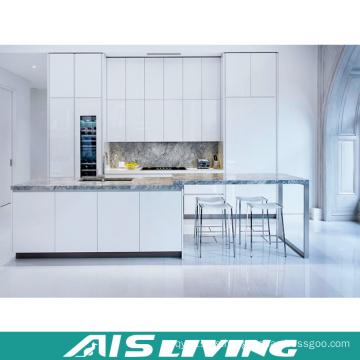 Laca blanca con muebles de armarios de cocina de cuarzo (AIS-K348)