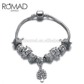 2017 Custom Logo Black Genuine Leather Natural Stone Bead women's Bangle Bracelet Skull