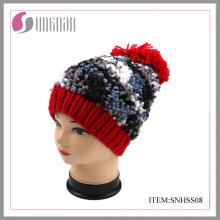 Chapeau de mode hiver filles avec POM POM
