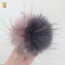 Venta al por mayor de color gris y púrpura piel de mapache piel de piel caliente Venta de accesorios de piel de piel Pom Pom