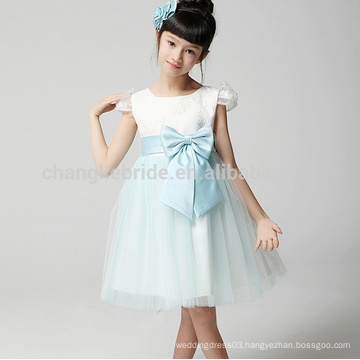 Wholesale Knee Length Tulle Flower Girl Dresses With Bow & Sash 2016