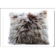 Lila Farbe echte mongolischen Lammfell Kissen
