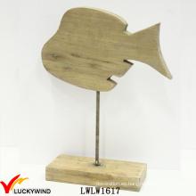 Tabla de la versión tallada a mano de madera de madera decorativa pescado