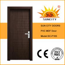 Designs de porte MDF en PVC massif intérieur de maison moderne (SC-P165)