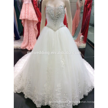 Luxo Heavy Hand Made Beaded Sweatheart Long Train Ball Vestido Marfim Wedding Dress Made in China A099
