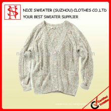 Suéter de hilados de fantasía de mujer, chaqueta de punto de las mujeres