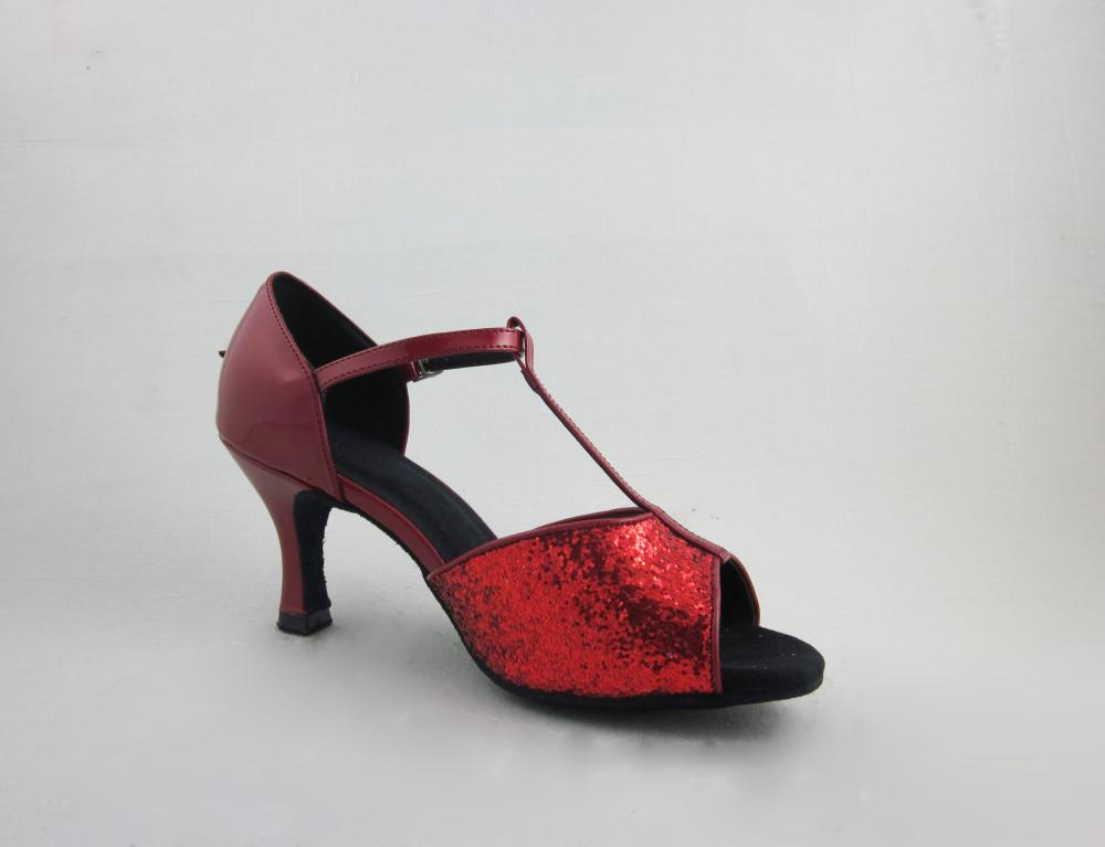 Red Leather Ladies Salsa Shoes