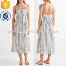 Белый вышитые хлопок платье Миди ОЕМ/ODM Производство Оптовая продажа женской одежды (TA7115D)