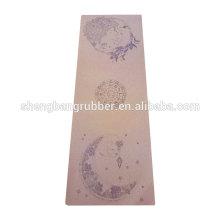 Fitness Pilates eco friendly cork yoga mat with custom printing CMYK printed