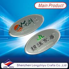 Oval benutzerdefinierte billige Aluminiumplatte Silber geprägte Logo Metallplatte