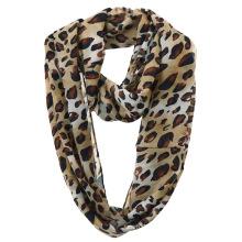 Lady Fashion Leopard Printed Polyester Chiffon Infinity Scarf (YKY1112)