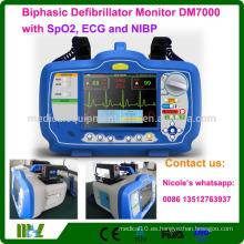 CE, ISO aprobado desfibrilador bifásico monitor aa DM7000 con SPO2 ECG y NIBP