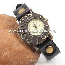 Antique black leather wrist watch promotion KSQN-07