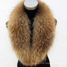 Natürlicher oder gefärbter Waschbär Großer Pelzkragen Pelzbesatz für Wintermantel Parka Winter