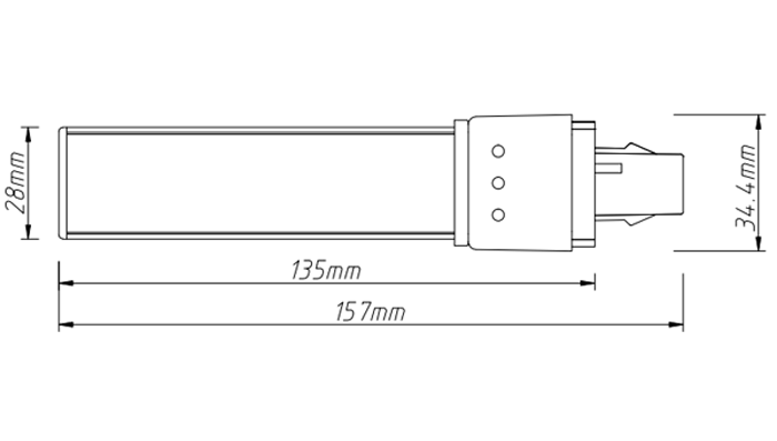 PL-21-8W 8w led tube pl light size