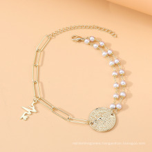 European and American Fashion French Retro Roman Head Pearl Anklet Personality Girly Beach Footwear