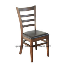(SP-EC162) Dining Restaurant Furniture Ladder Back Wood Chair Leather