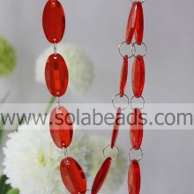 Event Decoration 6*25*46MM Acrylic Crystal Ring Beaded Trim