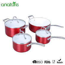 China for Pressed Aluminum Cookware,Pressed Aluminum Pizza Pan Manufacturers and Suppliers in China Pressed Ceramic Red Metallic 7Pcs Cookware Sets supply to Morocco Exporter